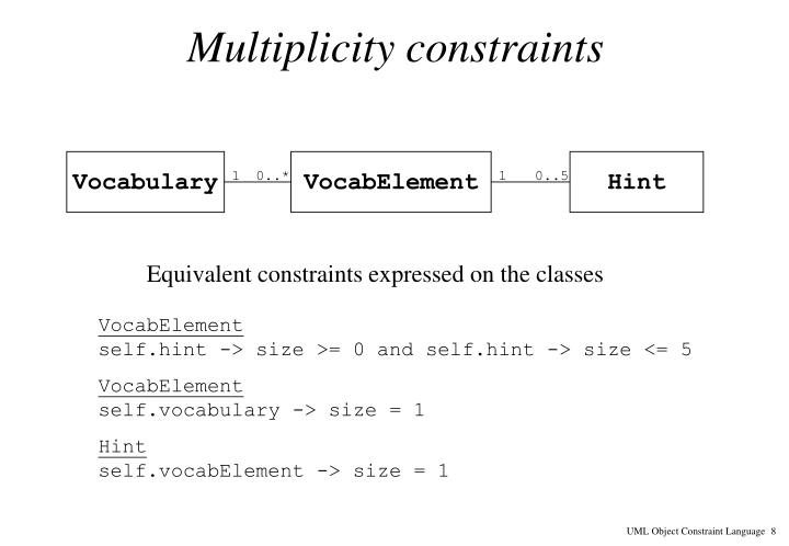 Multiplicity constraints