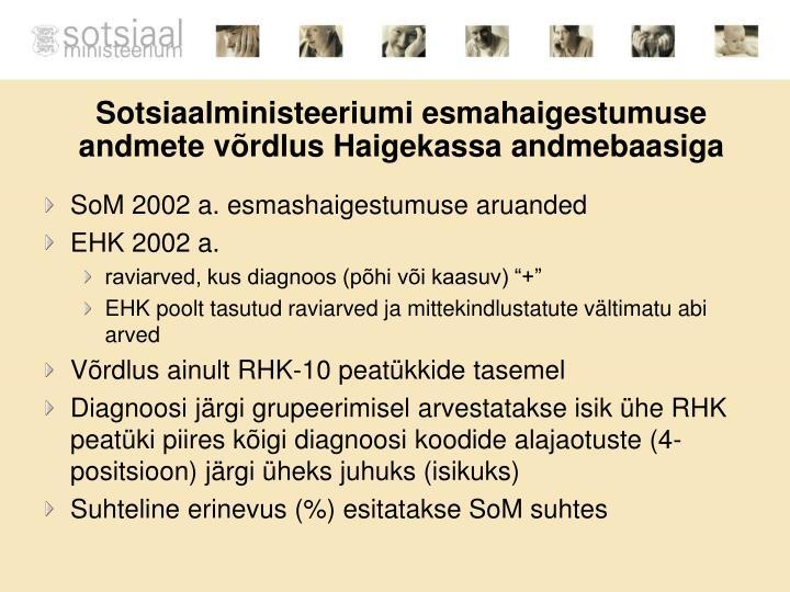 Sotsiaalministeeriumi esmahaigestumuse andmete võrdlus Haigekassa andmebaasiga