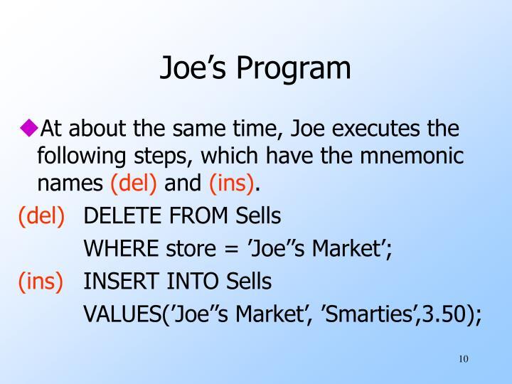 Joe's Program
