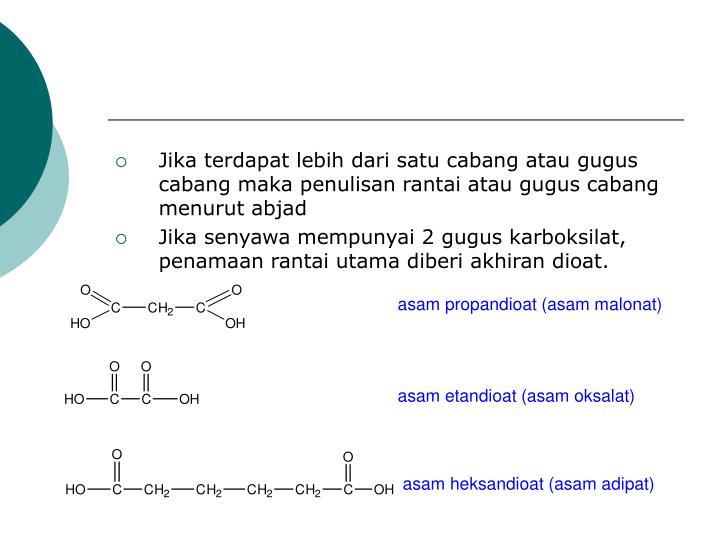 Jika terdapat lebih dari satu cabang atau gugus cabang maka penulisan rantai atau gugus cabang menurut abjad