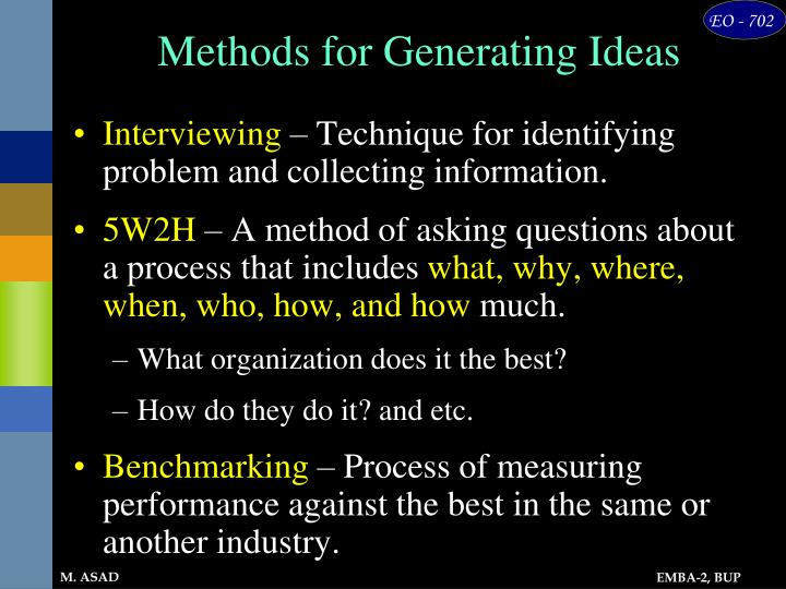 Methods for Generating Ideas