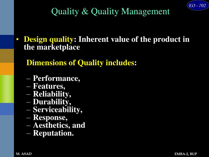 Quality & Quality Management