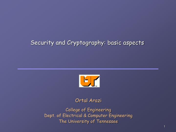 Security and cryptography basic aspects
