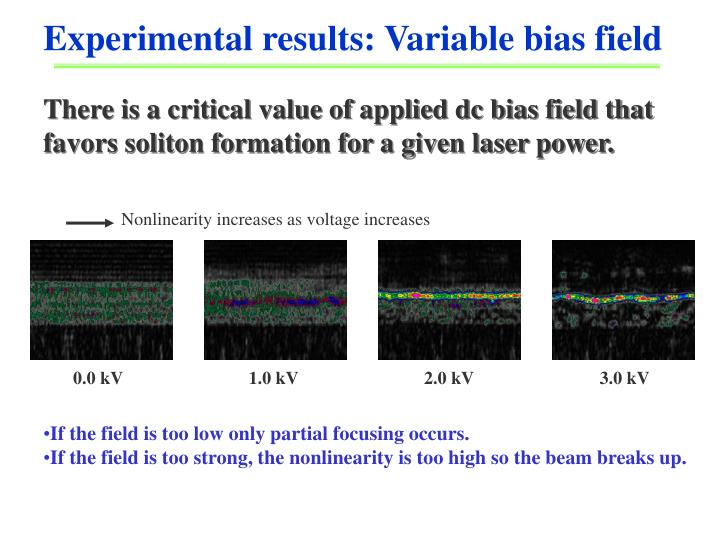 There is a critical value of applied dc bias field that favors soliton formation for a given laser power.