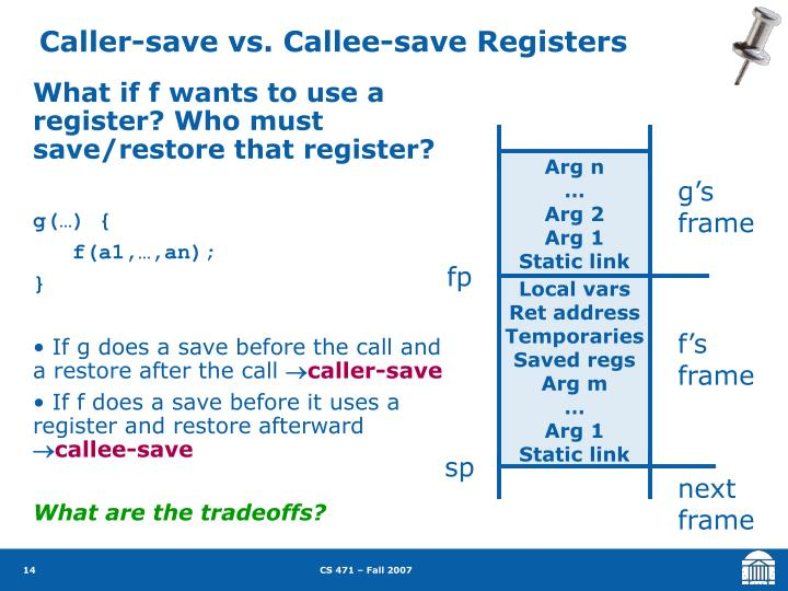 Caller-save vs. Callee-save Registers