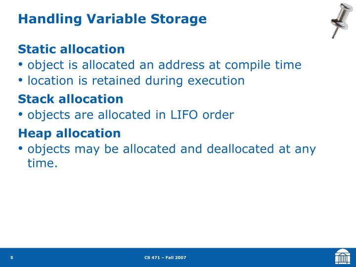 Handling Variable Storage