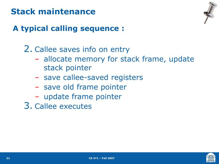 Stack maintenance