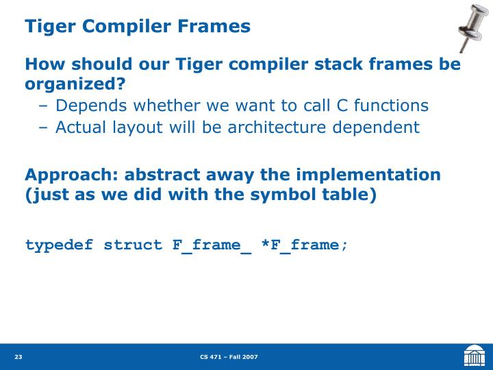 Tiger Compiler Frames