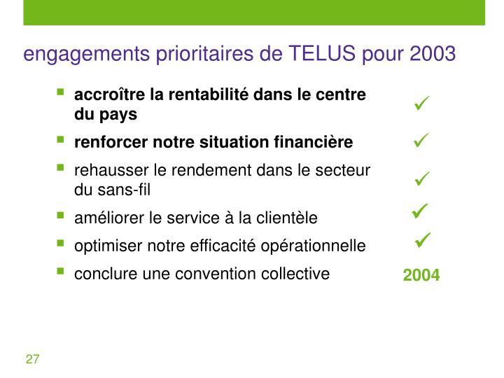 engagements prioritaires de TELUS pour 2003