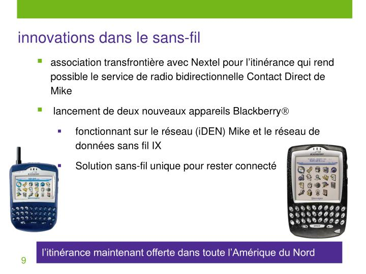 innovations dans le sans-fil