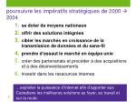 poursuivre les imp ratifs strat giques de 2000 2004