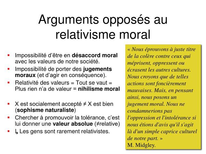 Arguments opposés au relativisme moral