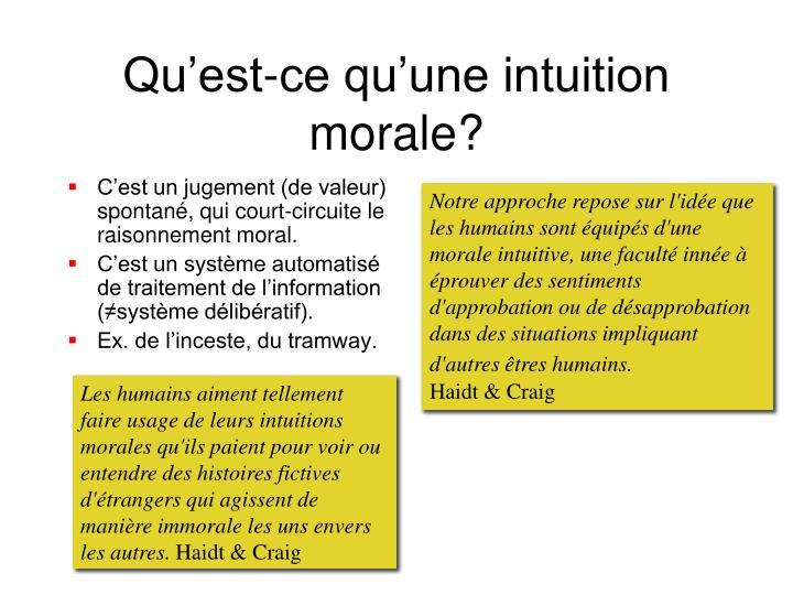 Qu'est-ce qu'une intuition morale?