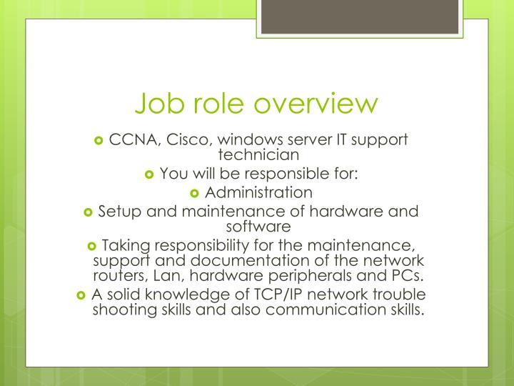 Job role overview