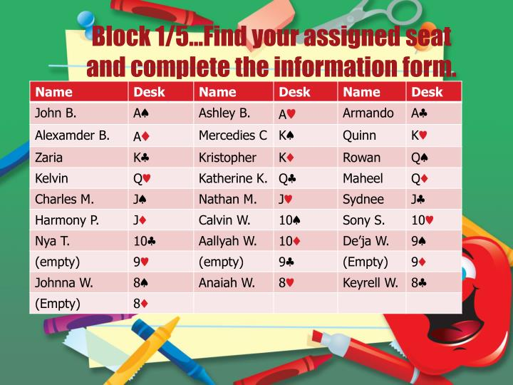 Block 1 5 find your assigned seat and complete the information form