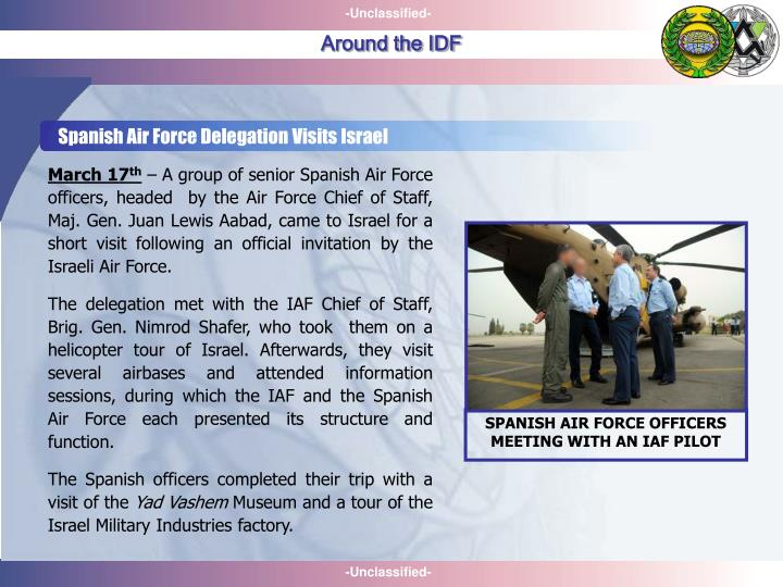 Spanish Air Force Delegation Visits Israel