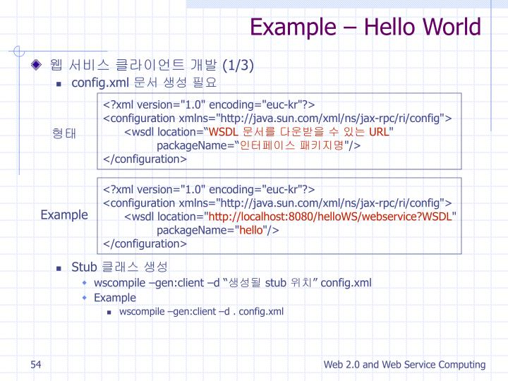 Example – Hello World