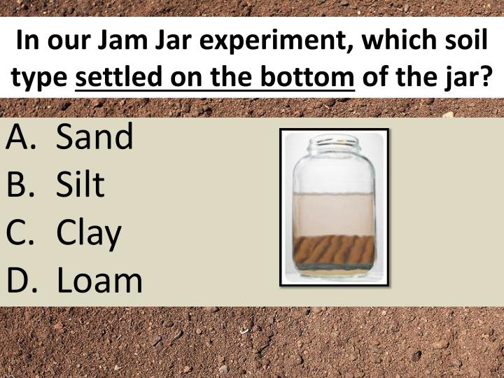 In our Jam Jar experiment, which soil type