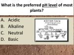 what is the preferred ph level of most plants