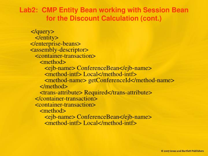 Lab2:  CMP Entity Bean working with Session Bean for the Discount Calculation (cont.)