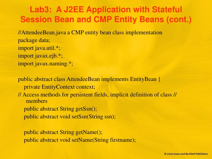 Lab3:  A J2EE Application with Stateful Session Bean and CMP Entity Beans (cont.)