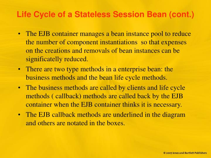 Life Cycle of a Stateless Session Bean (cont.)