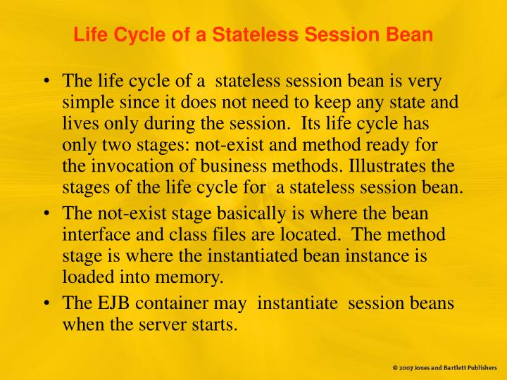 Life Cycle of a Stateless Session Bean