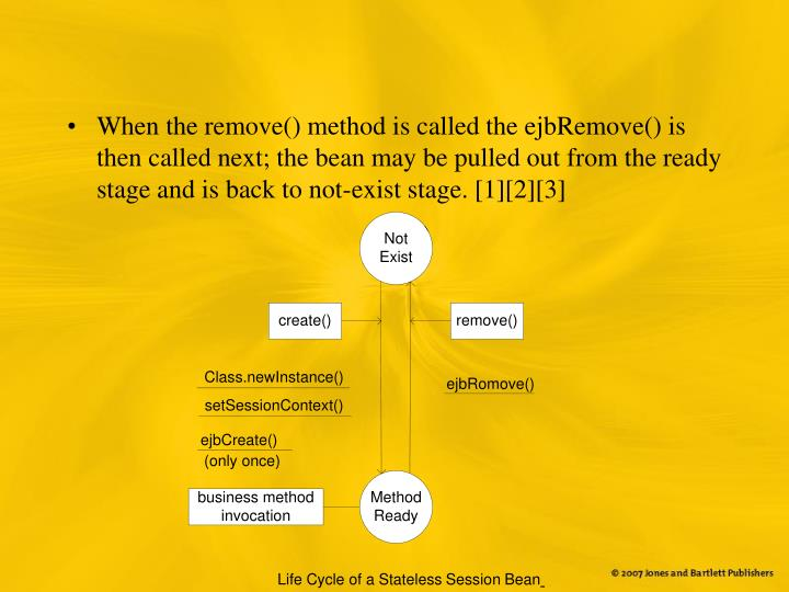 When the remove() method is called the ejbRemove() is then called next; the bean may be pulled out from the ready stage and is back to not-exist stage. [1][2][3]
