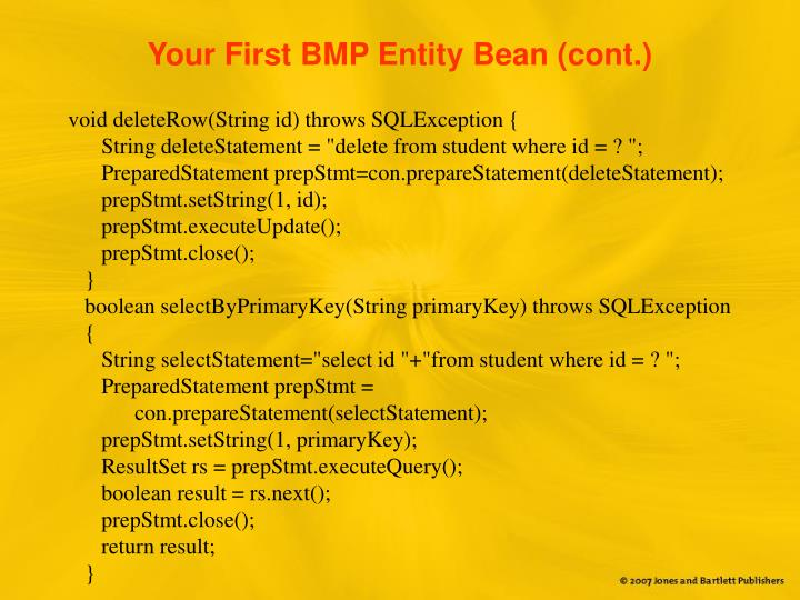 Your First BMP Entity Bean (cont.)