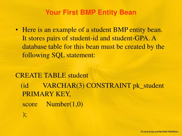 Your First BMP Entity Bean