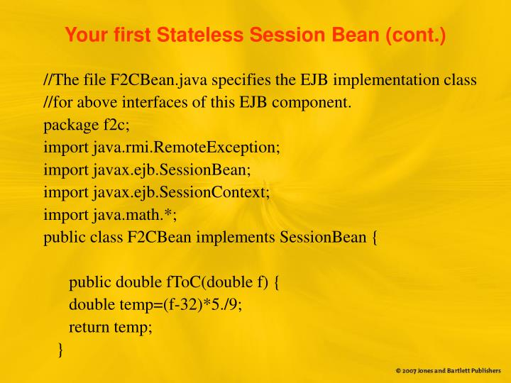 Your first Stateless Session Bean (cont.)