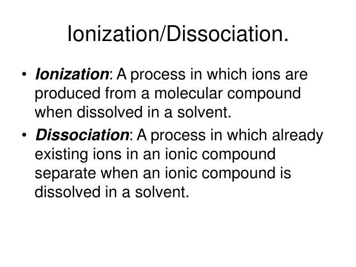 Ionization/Dissociation.