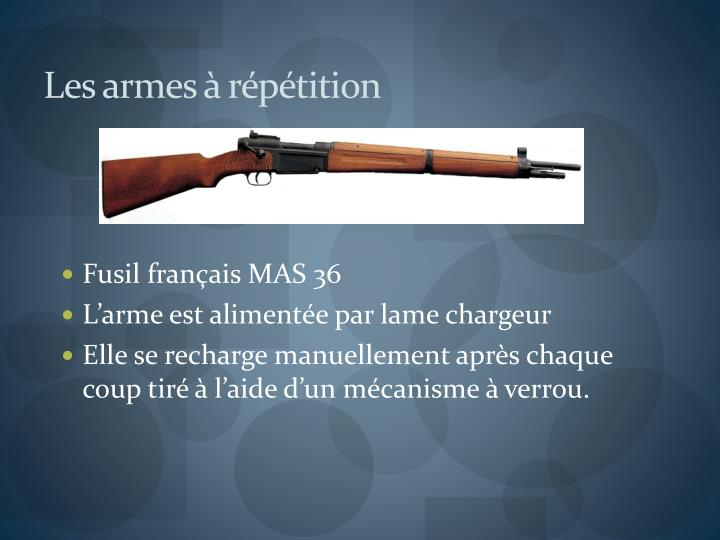 Les armes à répétition