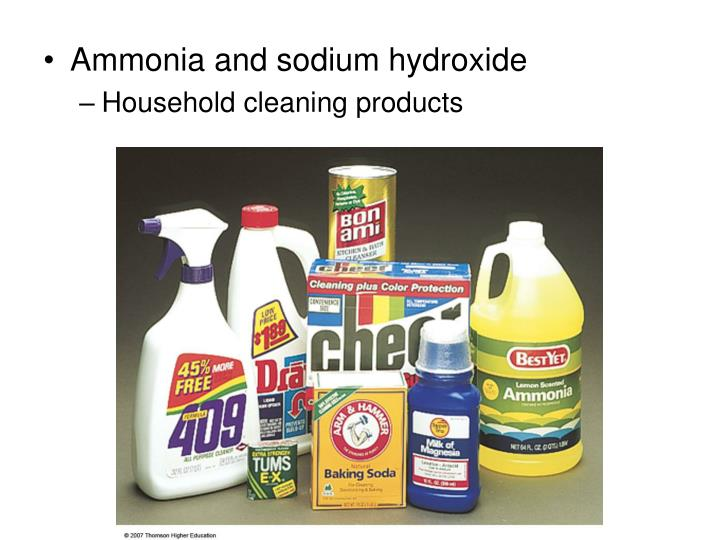 Ammonia and sodium hydroxide