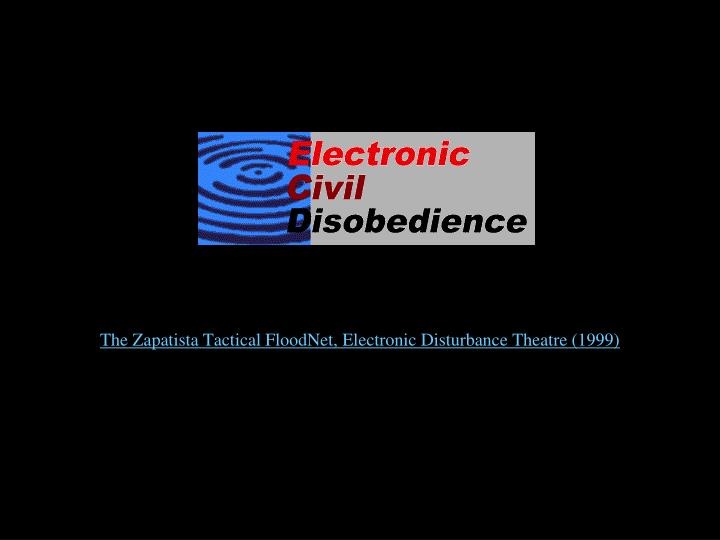 The Zapatista Tactical FloodNet, Electronic Disturbance Theatre (1999)
