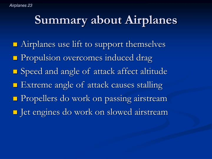 Summary about Airplanes