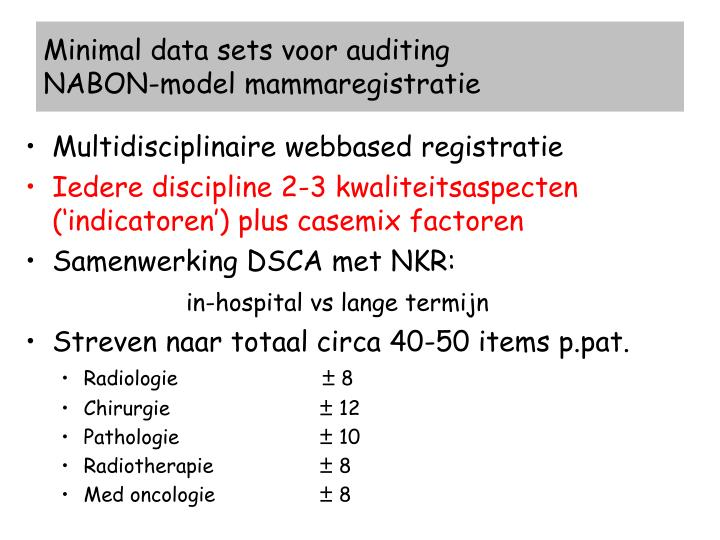 Minimal data sets voor auditing