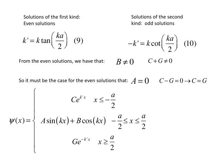 Solutions of the second kind:  odd solutions