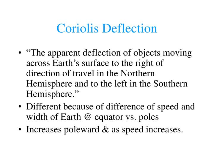 Coriolis Deflection