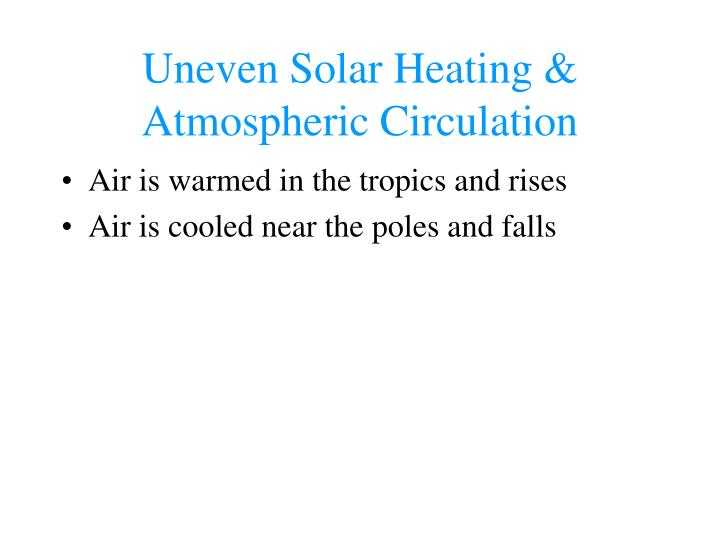 Uneven Solar Heating & Atmospheric Circulation