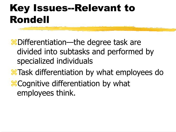 Key Issues--Relevant to Rondell