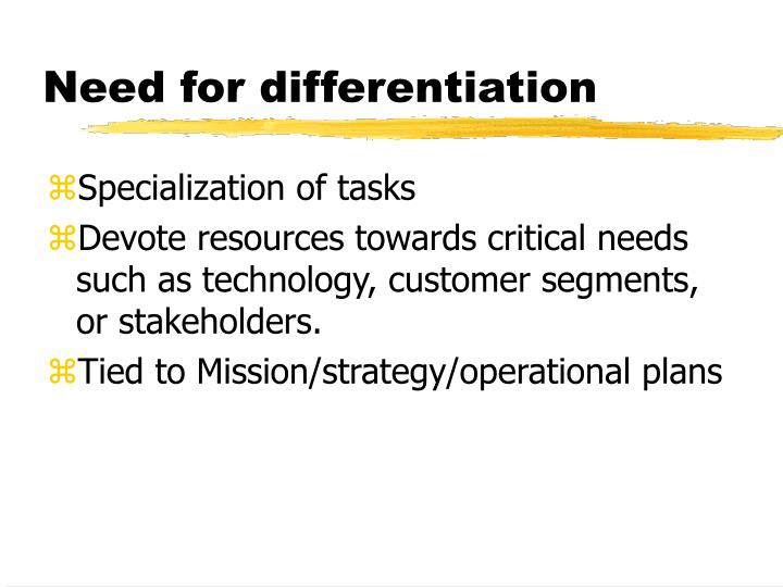 Need for differentiation