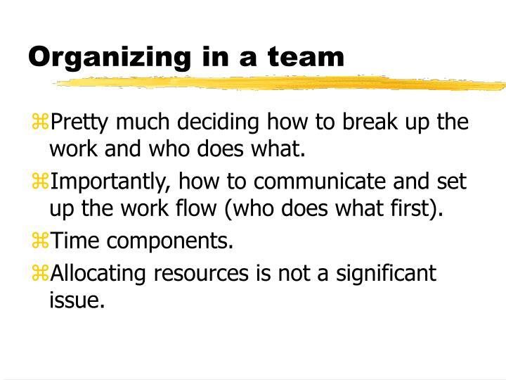 Organizing in a team