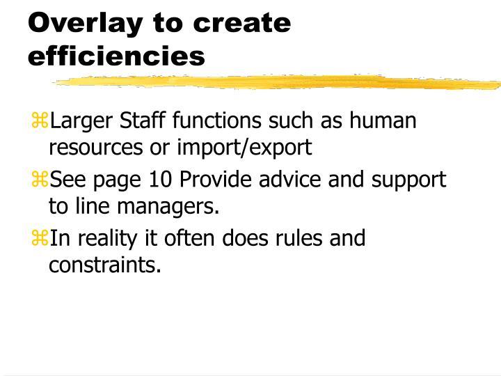 Overlay to create efficiencies