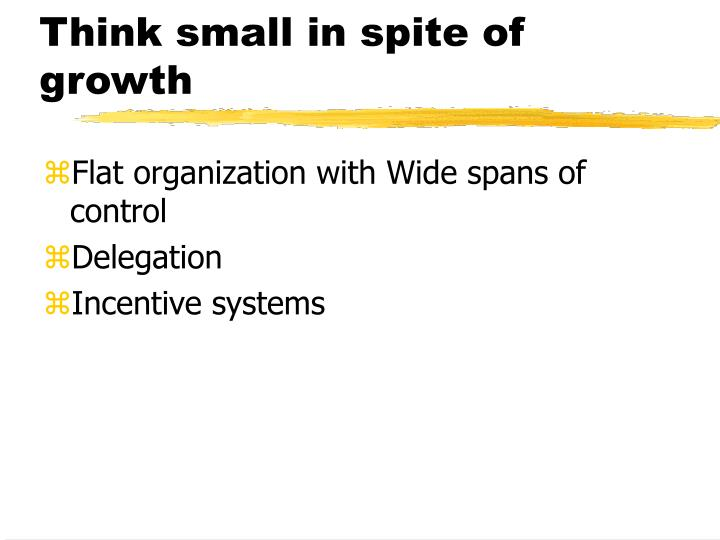 Think small in spite of growth