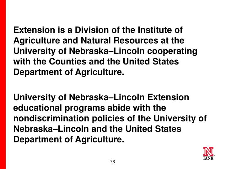 Extension is a Division of the Institute of Agriculture and Natural Resources at the University of Nebraska–Lincoln cooperating with the Counties and the United States Department of Agriculture.