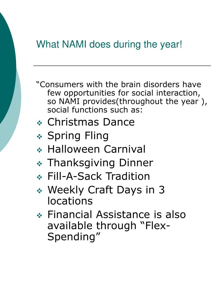 What NAMI does during the year!