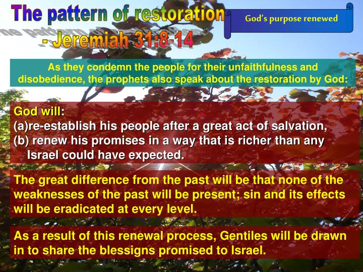 The pattern of restoration
