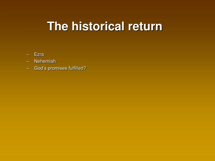 The historical return