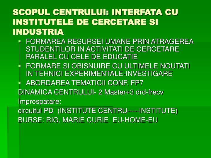 SCOPUL CENTRULUI: INTERFATA CU INSTITUTELE DE CERCETARE SI INDUSTRIA